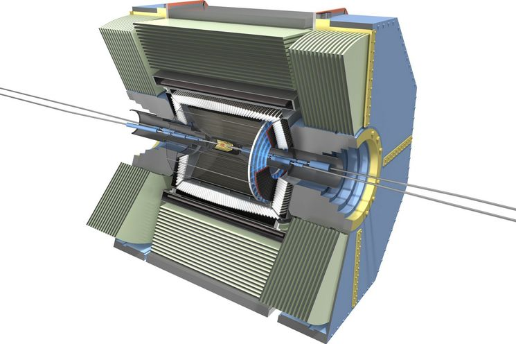Model of the Belle II detector. The MPP has a leading role in developing the inner pixel detector. (Photo: MPP)