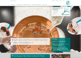 The startpage of new web presence of the Max Planck Institute for Physics