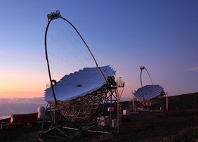 The MAGIC telescope system at the Roque de los Muchachos Observatory, La Palma, Canary Islands, Spain (Photo: G. Ceribella/MAGIC Collaboration)