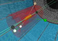 The Belle II detector searches for the Z' boson. This particle could reveal itself by an unexpected high number of muon pairs with opposite charges, as shown here. (Image: Belle II)