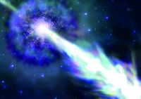 Artistic view of a gamma-ray burst with jet