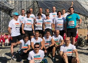 "The MPP-team ""Teilchenbeschleuniger"" at this year's B2Run in Munich (Photo: private)"