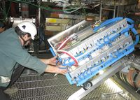 Installation of a muon chamber in the ATLAS detector
